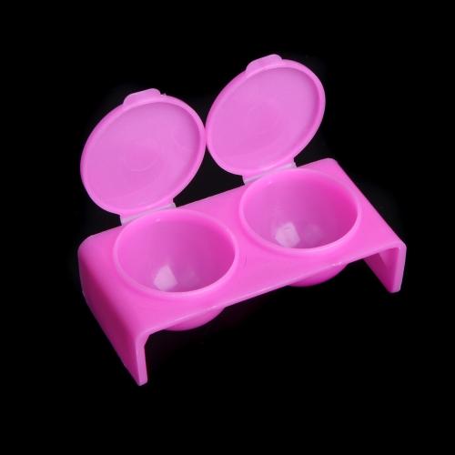 Casa profesional uso doble Flip tapa plato líquido polvo uñas de acrílico contenedor caso caja equipo rosa roja