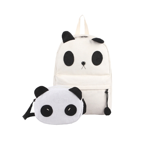 Women Girls Canvas Backpacks Cute Cartoon Panda Schoolbags with Small Shoulder Bags White