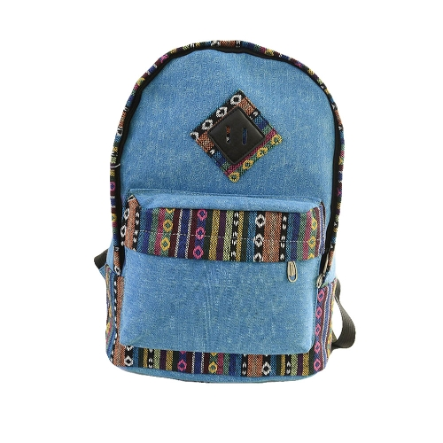 a8b3bfc6a4849 Fashion Men Women Canvas Bag Vintage Knitted Stripes Schoolbag Travelling  Backpack Unisex Sky Blue