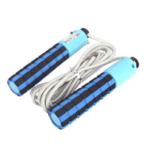 Salto automatico contatore regolabile saltare corda salto esercizio Fitness allenamento palestra sport schiuma spugna manico blu