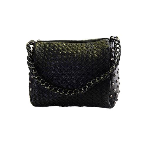 Fashion Women Shoulder Bag Candy Color PU Leather Weave Chain Rivet Crossbody Messenger Zipper Bag Black