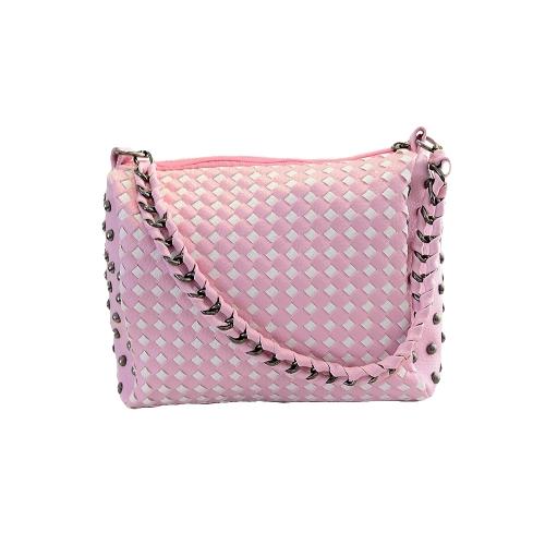 Moda mujer bandolera Color caramelo PU cuero tejido cadena remache bandolera Messenger cremallera bolsa rosa