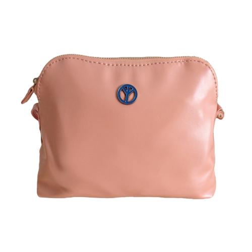 Las mujeres Coreano señora Linda bolsas PU cuero Color caramelo Messenger Crossbody hombro bolsas de color de rosa