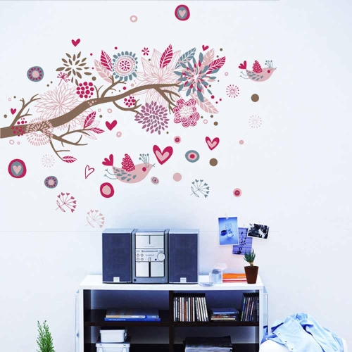 Bohemia Flowers Bird Removable Wall Stickers Art Decals Mural DIY - Wall decals in pakistanblack flowers removable wall stickers wall decals mural home art