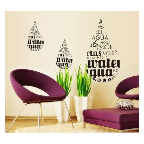 Water-drop English Letter Removable Wall Stickers Art Decals Mural DIY Wallpaper for Room Decal 50 * 70cm