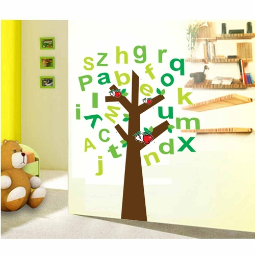 English Letter Tree Removable Wall Stickers Art Decals Mural DIY Wallpaper for Room Decal 60 * 90cm