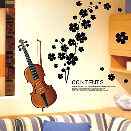 Piękne skrzypce Kwiaty Wymienne Naklejki na ścianę Tapety DIY do salonu 45 * 65 cm