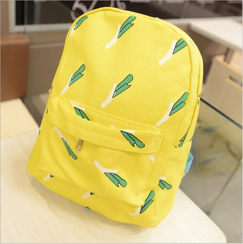 New Fashion Women Canvas Backpack OK Hands Onion Banana Pattern Print Schoolbag Yellow