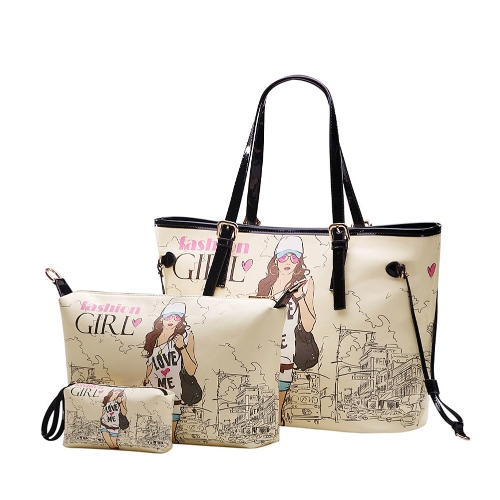 Girl Print Three Pieces Handbag Set for Women