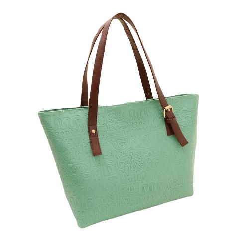 Nueva moda mujeres dama bolso PU cuero Vintage impresión Color caramelo Bolsa bandolera verde