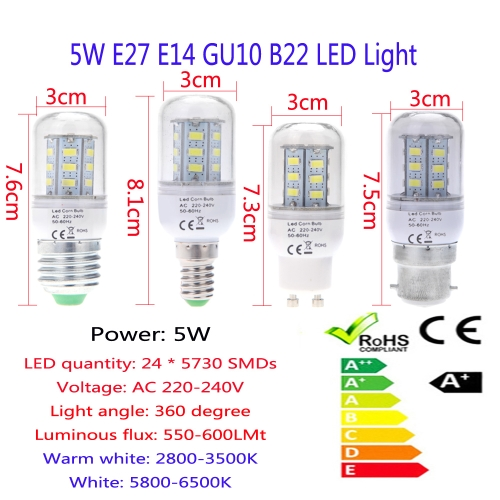 E14 5W 5730 SMD 24 LEDs Corn Light Lamp Bulb Energy Saving 360 Degree Warm White 220-240V