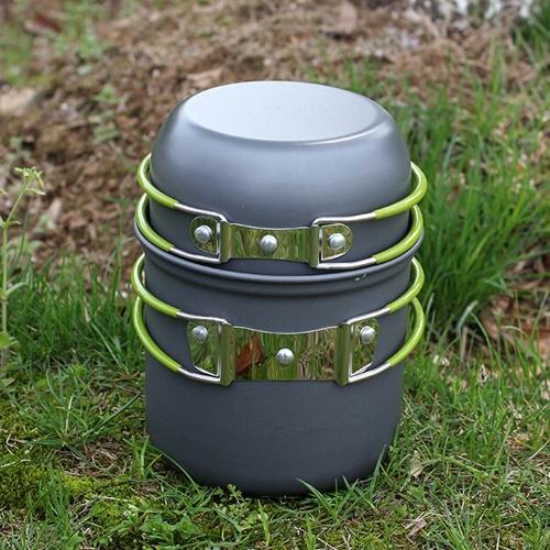Lixada Conjunto de Untensilio de Cocina Olla Bowl al Aire Libre Portable Aluminio anodizado Antiadherente para Campaña Picnic Senderismo