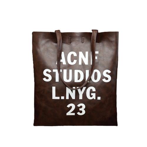 Nueva moda mujer bolsos Casual PU cuero carta impreso Vertical Bolsas colgables café