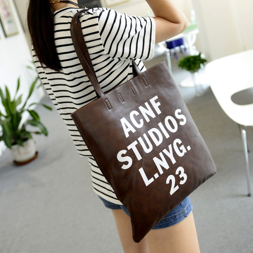 New Fashion Women Casual Handbags PU Leather Letter Printed Vertical Totes Shoulder Bags Coffee
