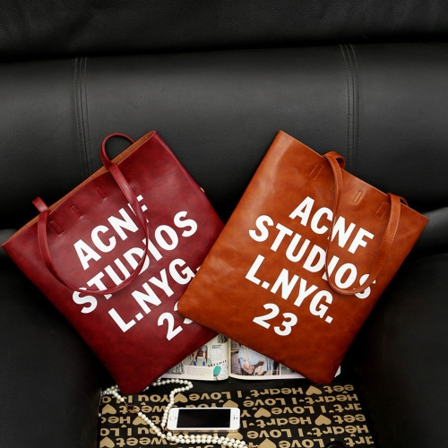 New Fashion Women Casual Handbags PU Leather Letter Printed Vertical Totes Shoulder Bags Red