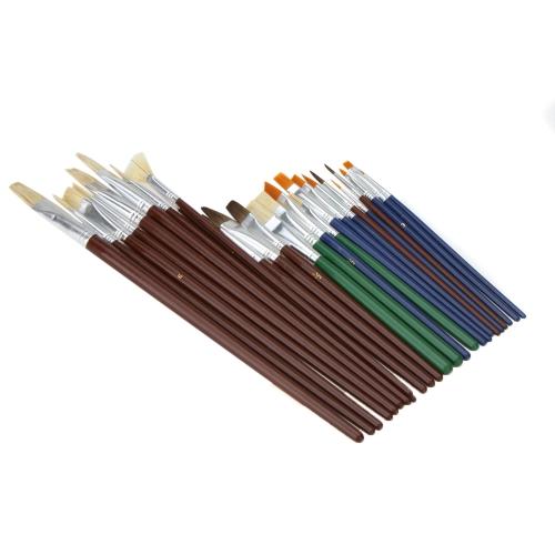 25szt Różny Kształt Nylonu Farba Szczotka Do Włosów Zestaw Drewniany Uchwyt Gwasz Obraz Akwarela Olej Akrylowy Art Supplies