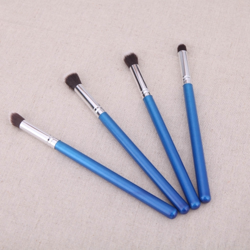 4ST Holz Make-up Pinsel Kit Professional Kosmetik Set silber Ferrule blau