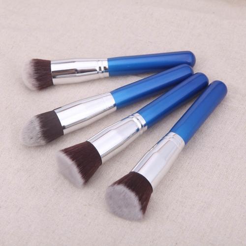 4шт древесины макияж кисти комплект профессиональный косметический набор серебряных обойма голубой