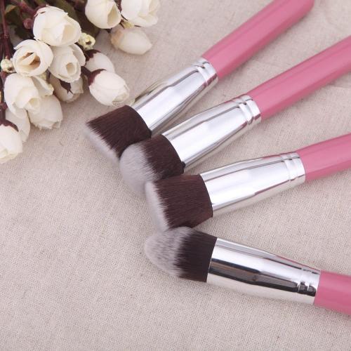 4шт древесины макияж кисти комплект профессиональный косметический набор серебряных обойма розовый фото
