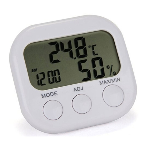Digital LCD Indoor Thermometer Hygrometer Clock Alarm Temperature Humidity Meter Gauge