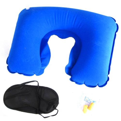 3 in 1 Travel Office insieme occhio-ombra occhio maschera Patch + gonfiabile U a letto a forma di cuscino collo cuscino d'aria + rumore annullamento viaggio confortevole Business di tappi per le orecchie