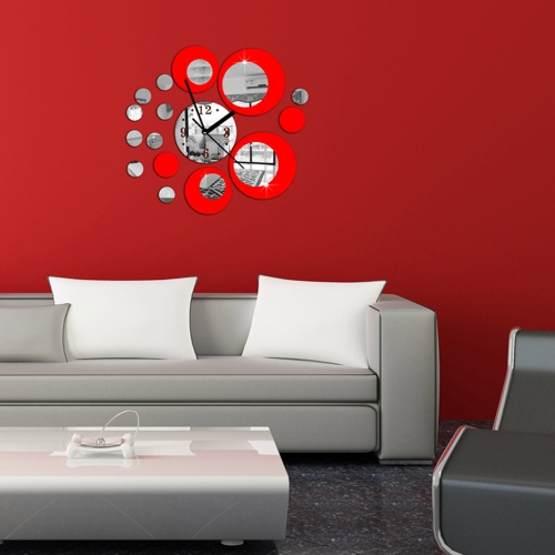 3D Crystal Mirror Effect Wall Clock Set 15 Circular Composite DIY Modern Circle Design Decoration Red