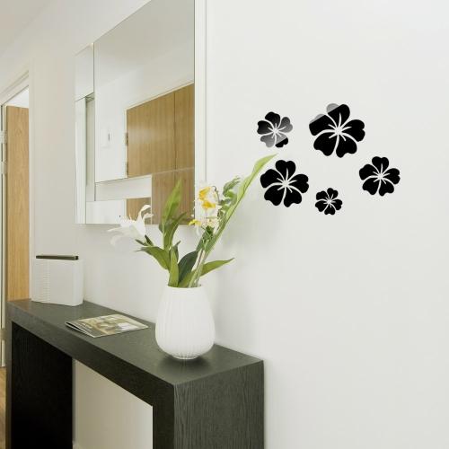 5pcs 3D DIY Acrylic Wall Sticker Set Home Movement Decoration Crystal Mirror Flower Sofa Bedroom Stickers Black