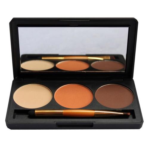 Профессиональный 3 цвета Мерцающий блеск макияж палитры теней для век с зеркалом & двойной закончились кисти