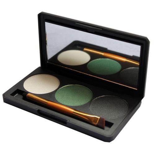 Profissional 3 cores Shimmer Glitter paleta da sombra de maquiagem com espelho & dupla escova terminou