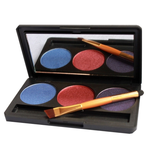 Professional 3 Color Shimmer Glitter Makeup Eyeshadow Palette with Mirror & Double Ended Brush