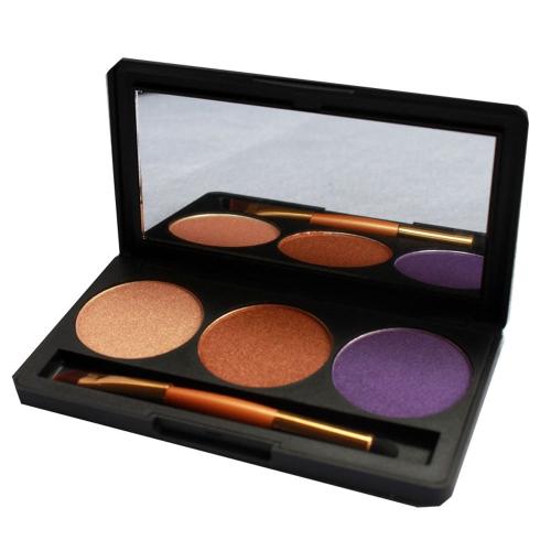 Professional 3 Farbe schimmern Glitter Makeup Eyeshadow Palette mit Spiegel & Doppel endete Pinsel