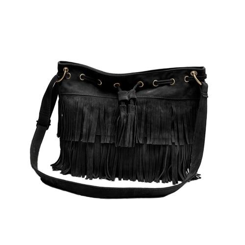 Fashion Women Vintage Shoulder Bag Fringe Tassel Drawstring Bucket Bag Messenger Handbag Black