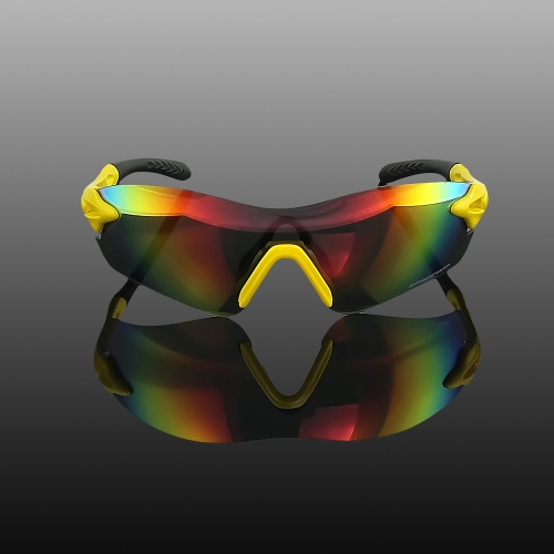 BaseCamp TR90 Cycling Sunglasses Safety Eyewear Goggle for Bicycle Riding Outdoor Colorful UV400 23g Unisex Yellow&Black Frame