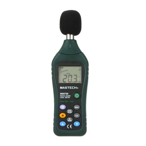 MASTECH MS6708  Digital Sound Level Meter dB Meter Measuring 30dB~130dB w/Analog Bar Graph