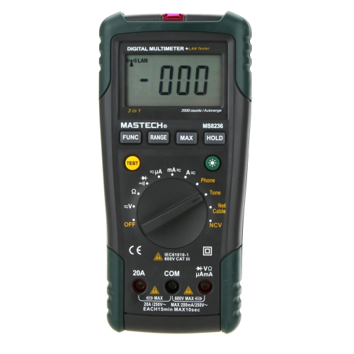 MASTECH MS8236 NCV Auto Począwszy DMM Digital Network multimetry W / LAN / Tone / Phone Tester
