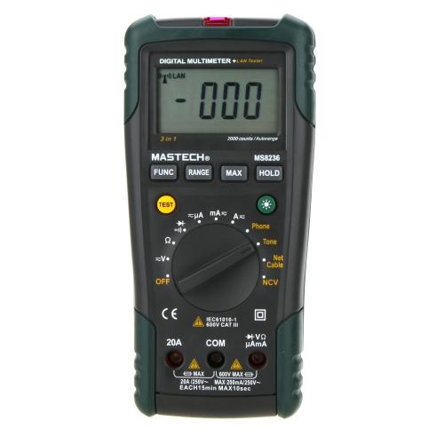 MASTECH MS8236 NCV Auto Ranging DMM Digital Network Multimeters W/ Lan/Tone/Phone Tester