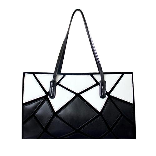 Neue Fashion Damen Handtasche PU Leder Patchwork Kontrast geometrisches Muster Umhängetasche schwarz & weiß