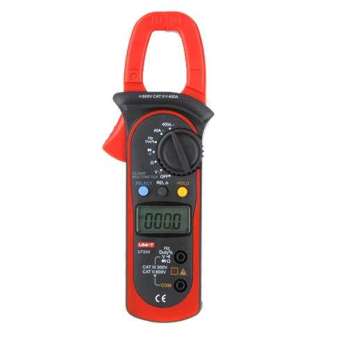 UNI-T UT203 400A gama de Auto AC/DC pinza Digital multímetro w voltaje resistencia frecuencia prueba