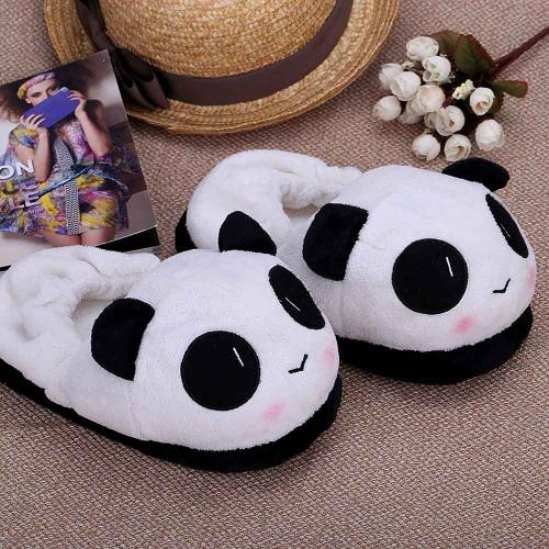 Anself deslizante de novedad interior para los amantes de invierno Zapatillas cálidas Lovely Cartoon Panda cara suave de felpa Hogar zapatos térmicos 26cm / 10.24in