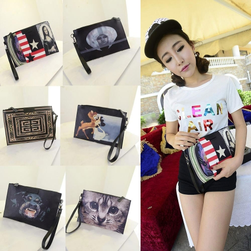 New Vintage Women PU Clutch Bag Graffiti Print Street Messenger Bag Handbag
