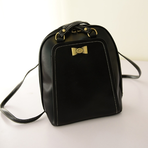 Novas mulheres bonito menina mochila PU arco decoração grande capacidade sacos de couro