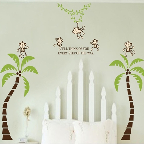 Monkey Coconut Tree 2pcs Wall Stickers Art Decals Mural DIY Wallpaper for Room Decal 60 * 90cm
