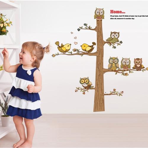 Cartoon Owls Wall Sticker Art Decals Mural DIY Wallpaper for Room Decal 60 * 90cm