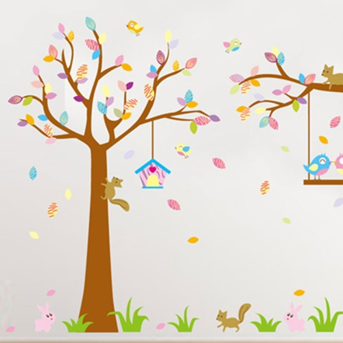 Tree Squirrels 2pcs Wall Stickers Art Decals Mural DIY Wallpaper for Room Decal 60 * 90cm