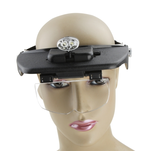 MG81001-A Two Efficient LED Lamps Headband Light Head Magnifying Glass 3D Scope 4 Lenses Loupe  Magnifier