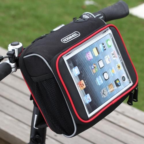 ROSWHEEL Borsa Bicicletta Pacchetto Manubrio Anteriore Bici Pieghevole Sacchetto PVC Trasparente per iPad mini 7