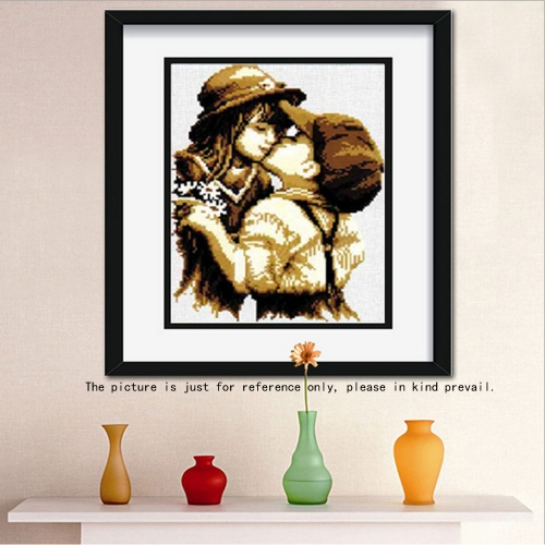 DIY Handmade Needlework Cross Stitch Set Embroidery Kit Precise Printed Pure Kiss Design Cross-Stitching 29.5 * 37cm Home Decoration