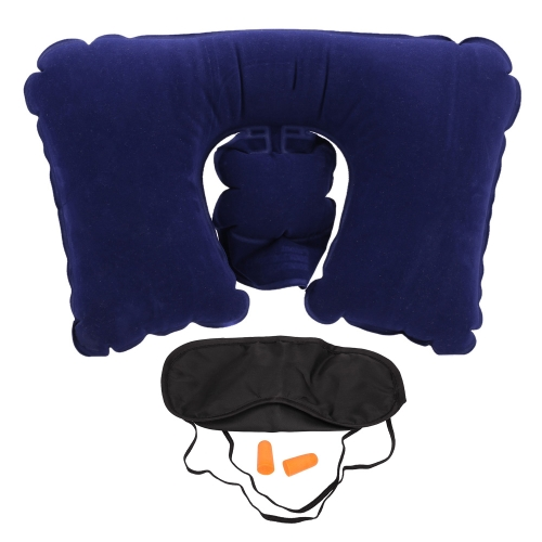 3 in1 Travel Set Inflatable Neck Air Cushion Pillow Eyemask  Eyeblinder Earplugs Comfortable Business Trip