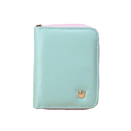Moda corto mujer monedero corona Zip PU cuero caramelo Color desplegable monedero tarjeta soporte embrague