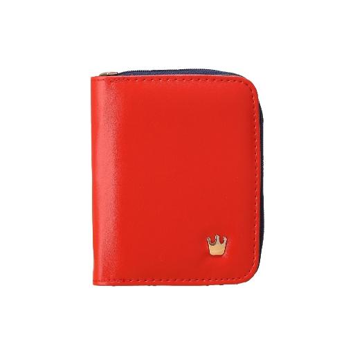 Mode kurze Frauen Geldbeutel Krone Zip PU Leder Candy Farbe ausklappbare Wallet Card Inhaber Kupplung